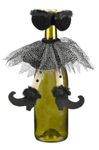 Halloween Wine Bottle Decoration - Ganz Sexy Witch Wine Bottle Cover (Black) -