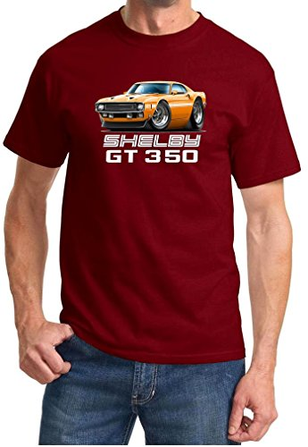 1969 1970 Shelby GT350 Mustang Fastback Full Color Design Tshirt XL Maroon