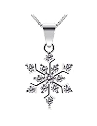 """B.Catcher Sterling Silver Sparking Cubic Zirconia Snowflake Pendant Necklace, 18"""""""