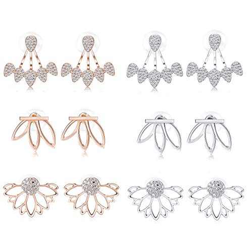 LOYALLOOK Hollow Lotus Earrings for Women Girls Fashion Flower Ear Jackets Crystal Simple Chic Stud Earrings Bar Stud Earrings Cuff Earrings Set (6 Pairs) -