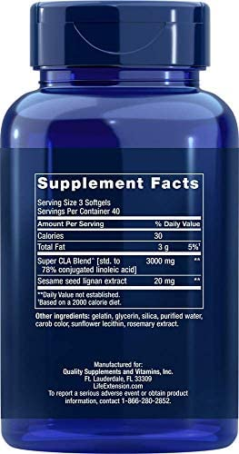 Life Extension Super CLA w/ Sesame Lignans 1000 Mg, 120 softgels by Life Extension