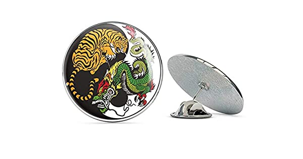 Amazon.com: Yin Yang Tiger Dragón redondo de metal de 0.7 in ...