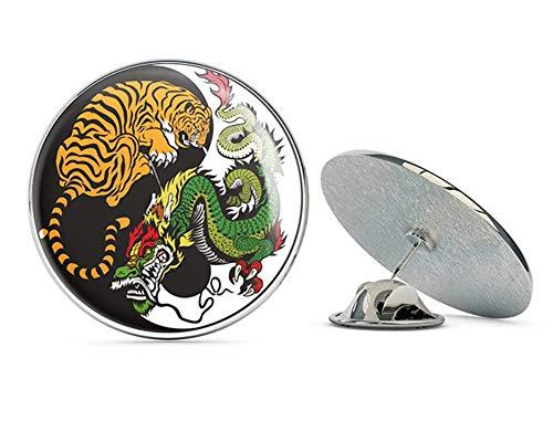 (Yin Yang Tiger Dragon Round Metal 0.75