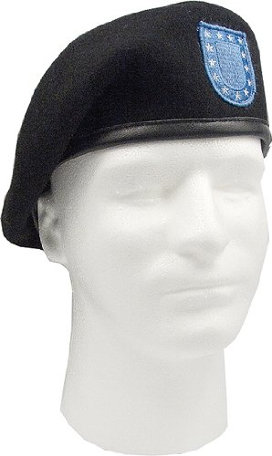 Black Inspection Ready Military Flash Beret Size 7