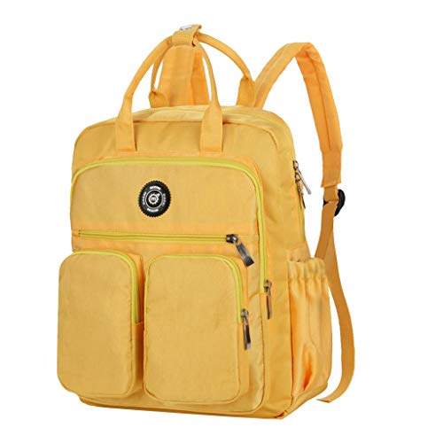 Sports Nylon Backpack Large Capacity Bookbag Computer Handbag Student Outdoor Daypa (Yellow) ()