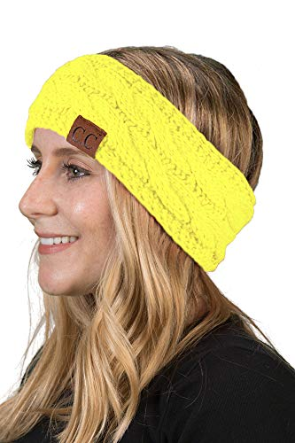 Tri Color Head - Funky Junque HW-6033-20a-55 Solid Headwrap - Neon Yellow