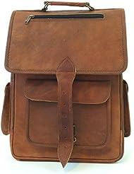 Handmade Genuine Leather Backpack Laptop Bag for Men Women Rucksack Knapsack