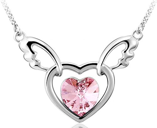 Infinite U Hollow Double Hearts Angel Wing Austrian Crystal Silver Plated Pendant Necklace -3 Colour Options (Pink) Austrian Crystal Angel Necklace