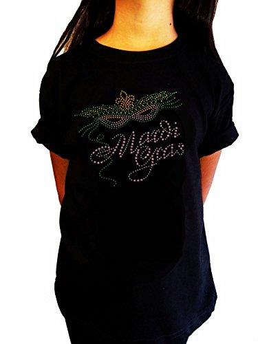 Girl's Fashion T-shirt with Mardi Gras Mask in Rhinestuds (9-11) (Mardi Gras Fashion)