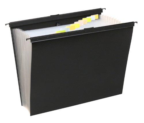 Wilson Jones Slide-Bar 13-Pocket Expanding File, 15 Inch Expansion, Letter Size, Black (W68205)