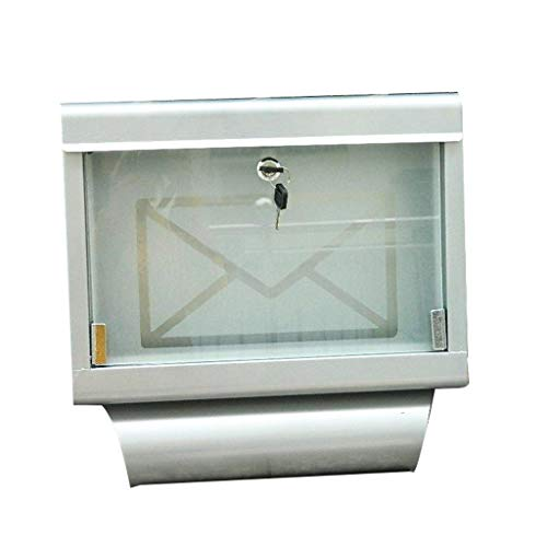 HJHSH Stainless Steel Mailbox,with Frosted Glass Door and Envelope Motif Wall-Mounted Outdoor Lockable Newspaper Stand