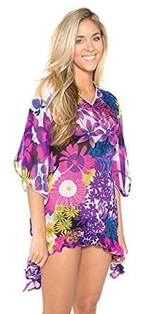 Beach Wear Cover Up Top Caftan Dress Women Hawaiian Floral