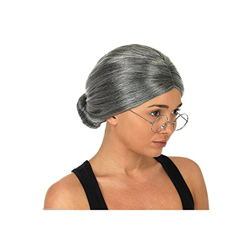 Costume Old Lady Wig, Gray Wig Women's Cosplay Wig with Glasses Costume Accessories for Dress up Perform, 2 PCS