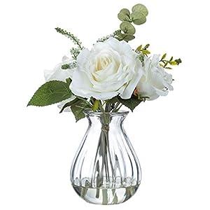 "OakRidge Illusion Glass White Rose Floral Arrangement - Artificial Home Décor Centerpiece and Gift - 11"" High x 8"" Diameter 55"