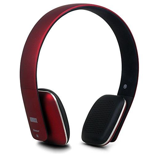 August EP636 - Auriculares Bluetooth de Diadema Casco Inalámbrico NFC con Micrófono Manos Libres para Teléfonos, Tabletas y Ordenadores, color Rojo