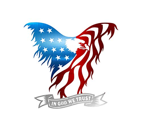 Precision Metal Art American Eagle Steel Laser Cut Wall Art with in God We Trust Banner 24