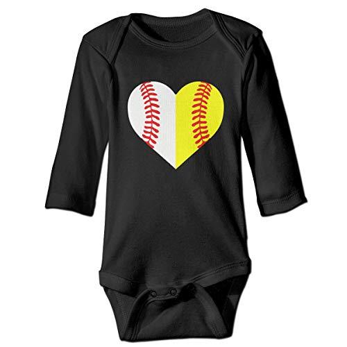 Baseball Softball Printed Newborn Baby Girl Infant Long Sleeve Romper Jumpsuit Bodysuit Black