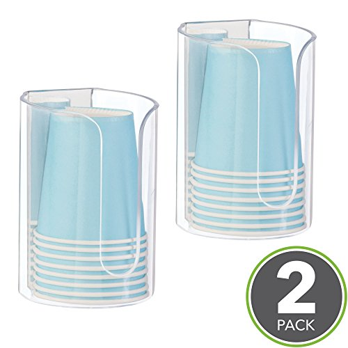 - mDesign AFFIXX, Peel-and-Stick Strong Self-Adhesive Disposable Paper Cup Dispenser for Bathroom - Pack of 2, Clear/Mirrored Accent