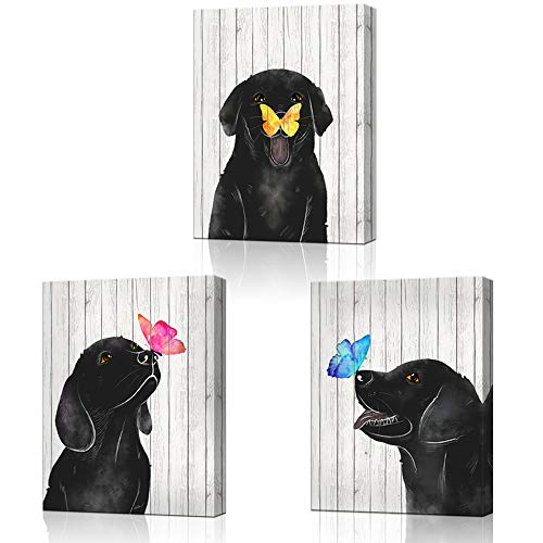 LoveHouse Framed Colorful Butterfly and Dog Wall Art Animal Theme Nursery Room Decor Black and White Wood Background Giclee Prints Gallery Wrap Ready to Hang 12