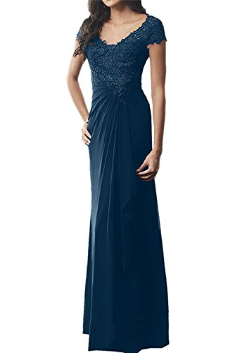 Festlichkleider Promkleider Dunkel Etuikleider Abendkleider Lang La Brautmutterkleider Blau Braut Marie mit Spitze qOZR8Z