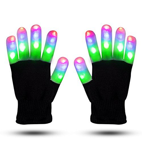 LED Gloves ZOETOUCH Finger Lights Glowing Rave Gloves Flashing Gloves 6 Modes For Halloween Costume Christmas Dance Dubstep Party Birthday