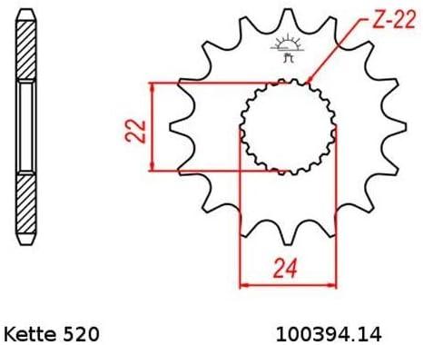 Kettensatz geeignet f/ür Aprilia RS 125 Replica 93-03 Kette RK 520 H 108 offen 14//39