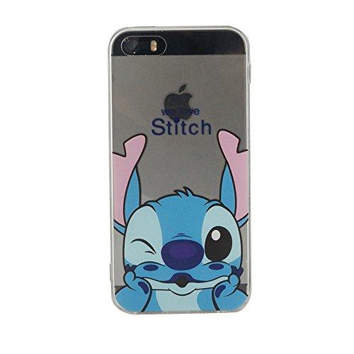 VComp-Shop® Transparente Silikon TPU Handy Schutzhülle mit Motiv Cartoon Disney für Apple iPhone 5/ 5S/ SE + Großer Eingabestift - Stitch