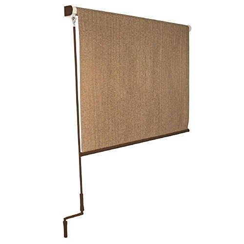 Coolaroo Cordless 6 ft x 8 ft Exterior Roller Shade Walnu...