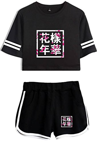 SERAPHY Bangtan Boys Clothes Crop Top T-Shirts and Shorts Suit for Girls and Women 207 Black-Black S