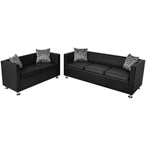Vidaxl set 2 divani neri 3 posti e divani for Amazon divani