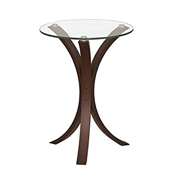 End Table Wood and Tempered Glass Snack Table Side Accent Table – 15.75 L x 15.75 W x 21.25 H. Assembled
