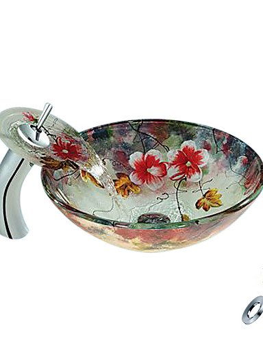 Flower Round Tempered Glass Vessel Sink With Waterfall Faucet Mounting Ring and Water Drain(0888-C-BLY-6544-WF)