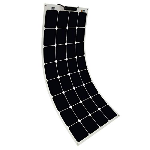 Solar Panel 100W 12V Bendable Flexible Solar Charger SunPower Solar Module with MC4 for RV, Boat, Cabin, Tent, Car, Trailer, 12v Battery or Any Other Irregular Surface (12V 100W)