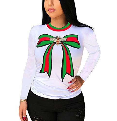 Women Spring Autumn Fashion Stylish Round Neck Long Sleeve Bowknot Stripe Printed Oversized Tees Tunic Top Basic T-Shirts White XL