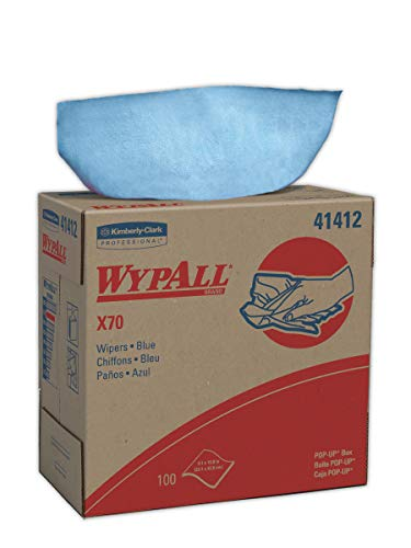 (WypAll 41412 X70 Cloths, POP-UP Box, 9 1/10 x 16 4/5, Blue, 100 per Box (Case of 10 Boxes))