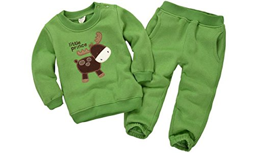 [ODFAPP Adorable 2016 Spring&Autumn Children Boy&Girl Clothing Set Baby Girls Casual Sports Animal Pattern Costume Kids Clothing Set Suit 15-333 Green5T] (Animal Costumes Coupon Code)