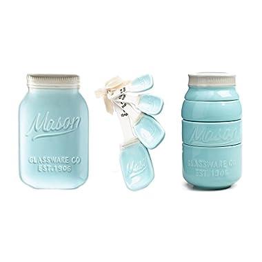 Mason Jar Ceramic Kitchenware 3 Piece Set: Spoon Rest, Measuring Cups & Spoons