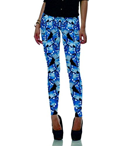 Mosszra Police Box Repeat Pattern Digital Print Stretch Tight Ankle Leggings ()