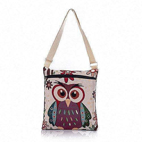 Borsa a tracolla con tracolla per borsa a tracolla stampata a mano in tela con stampa gufo di cartone animato Stachel Bohemian (Colore : Owl6, Dimensione : Taglia unica) Owl10