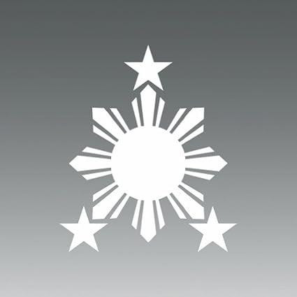 2x philippines sun white sticker 2 decal die cut