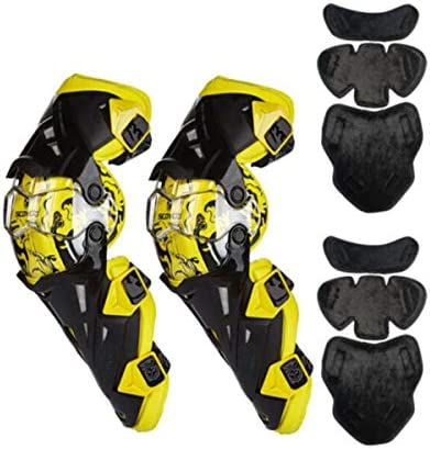 Kaiyitong001 ニーパッド、オートバイ乗馬の膝パッド、四季のウォームオフロード競争粉々に耐性防風の耐摩耗乗馬機器、取り外し可能な暖かい裏地、黄色,スタイリッシュで絶妙 (Color : Yellow)