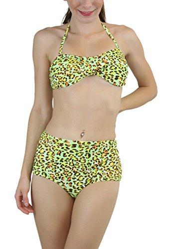 ToBeInStyle Women's Bandeau Top & Highwaist Bikini - Cheetah Green - - Cheetah Bandeau