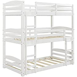 Dorel Living Sierra Triple Twin Wood Bunk Bed, White