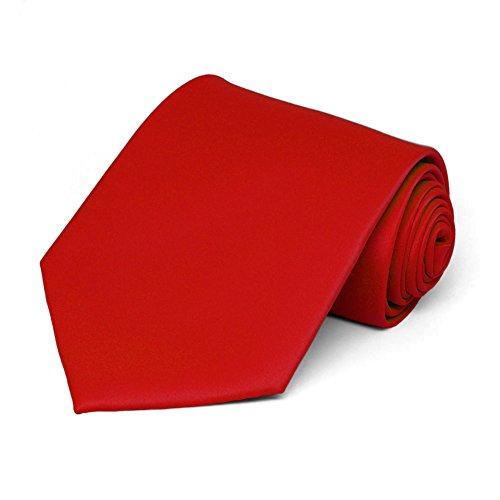 TieMart Men's Solid Red Necktie from tiemart