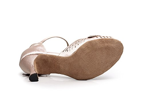 Fashion Heel 10 KQJ7076 Latin Flared Wedding Satin Women's Beige Salsa Tango US Sandals Kevin qwBSdB