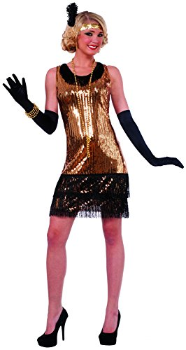 Forum Novelties Women's Ritzy Glitzy Sequin Flapper Dress, Gold/Black, Medium/Large (Prohibition Attire)