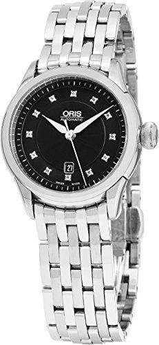 Oris Artelier 30 MM Black Face Diamond Date Swiss Automatic Stainless Steel Womens Watch 56176044099MB
