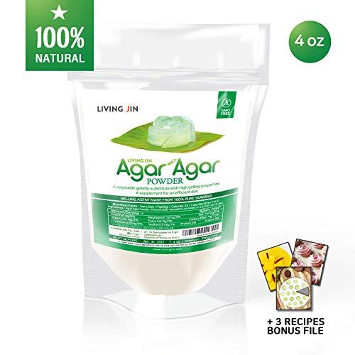 Agar Agar Powder 4oz : Gelatin Substitute, Vegan, Unflavored, Gummy bears, Cheese, Vegetarian, Keto, Gluten-free, Non-GMO, Sugar-free Kosher, Halal, Desserts, Thickener  LIVING JIN