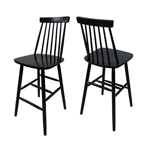 (Christopher Knight Home 306994 Knight Spindle Bar Stools - Rubberwood - Traditional - Farmhouse-Style - Black - Set of 2-29.33