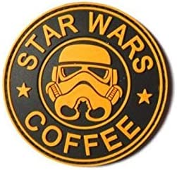 Star Wars Coffee Rubber Tactical Black Yellow PATCH Hook /& Loop Free Ship